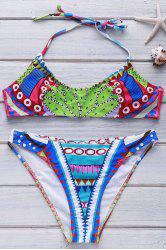 Alluring Halter Print Bikini Set For Women