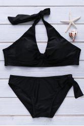 Solid Color Halter Neck Bow Tie Embellished Sexy Style Slimming Women's Swimsuit -