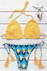 Refreshing Halter Feather Printed Crochet Bikini Set For Women