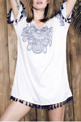 Ethnic Style V Neck Fringed Printed Shift Dress - WHITE