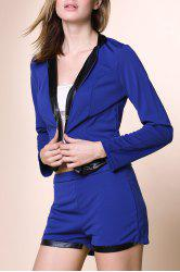 Élégant Collier Stand-Up manches longues Spliced ​​Blazer + Solide Twinset Colorions Shorts Femmes - Bleu