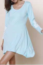 Long Sleeve Hollow Out Asymmetrical Casual Dress Fall