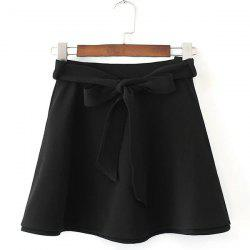 Belted Mini Skater Skirt -
