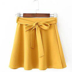 Belted Mini Skater Skirt - YELLOW