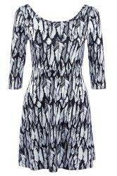Stylish Women's Print 3/4 Sleeve Jewel Neck Dress