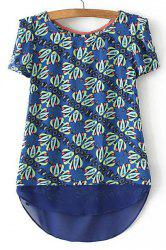 Stylish Short Sleeve Floral Print High Low Women's T-Shirt -