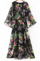 Bohemian Flare Sleeve Round Neck Floral Women's Dress -