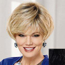 Graceful Side Bang Capless Fashion Short Natural Straight Human Hair Wig For Women -
