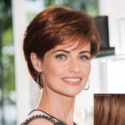Elegant Side Bang Capless  Human Hair Short Straight Wig -