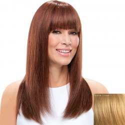 Charming Silky Straight Full Bang Capless Vogue Long Real Natural Hair Wig For Women - BLONDE