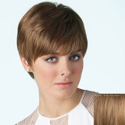 Spiffy Short Straight Capless Fashion Side Bang Real Human Hair Wig For Women -