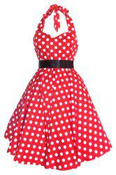 Halter Polka Dot 50s Swing Dress - RED M