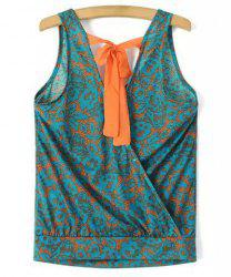 Chic V Neck Printed Criss-Cross Loose Tank Top For Women -