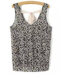 Chic V Neck Printed Criss-Cross Tank Top For Women -