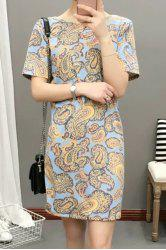 Elegant Round Neck Short Sleeve Paisley Print Loose-Fitting Dress For Women -