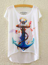 Stylish Round Neck Short Sleeve Anchor Print High-Low Hem T-Shirt For Women