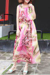 Sleeveless Graphic Maxi Bohemian Dress -