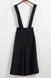 Stylish High Waist Loose-Fitting Black Cropped Overalls For Women -