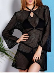 See Through Long Sleeve Mesh Beach Cover-Up Dress