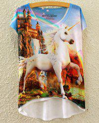 Cute Scoop Neck Unicorn Print High Low Short Sleeve T-Shirt For Women -