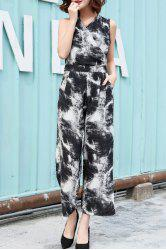Chic V Neck Sleeveless Printed Women's Wrap Jumpsuit