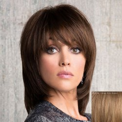 Stunning Medium Layered Capless Vogue Straight Side Bang Human Hair Wig For Women -
