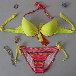 Stylish Halter Neck Checked Women's Bikini Set
