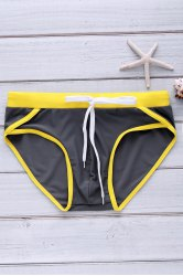 Color Block Sexy Lace-Up Briefs Swimming Trunks For Men - GRAY