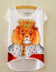 Stylish Round Neck Short Sleeve Lion With Crown Print High-Low Hem T-Shirt For Women