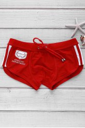 Color Block Logo Pattern Design Lace-Up Boxer Swimming Trunks For Men - RED