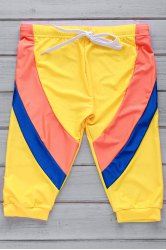 Color Block Lace Up Five Pants Men's Swimming Trunks - YELLOW