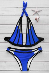 Sexy Halter Color Block Hollow Out Bikini Set For Women -