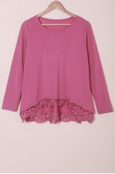 Stylish Lace Spliced Hem Long Sleeve T-Shirt For Women -
