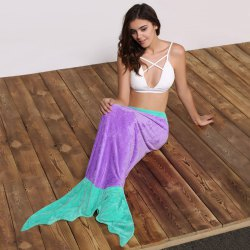 Cute Color Block Mermaid Design Blanket For Kids - PURPLE