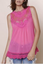 Sweet Hollow Out Lace Spliced Solid Color Tank Top For Women