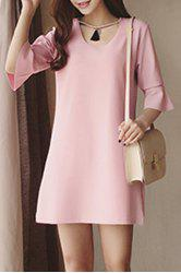 Chic Scoop Neck Solid Color Bell Sleeve Dress For Women -