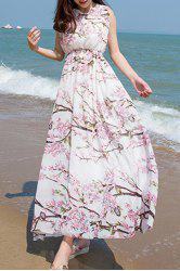 Chiffon Floral Backless Long Dress -