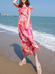 Flounce Cold Shoulder Floral Maxi Swing Beachwear Dress - ROSE M