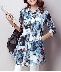 Casual Shirt Collar Long Sleeves Printed Shirt For Women