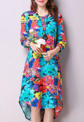 Casual Jewel Neck 3/4 Sleeves Color Block Dress For Women