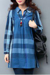 Casual V-Neck Long Sleeves Loose Fitting Dress For Women -
