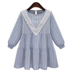 Sweet Jewel Neck Long Sleeves Floral Dress For Women -