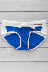 Color Block Letter Printed Sexy Men's Swimming Trunks - AZURE