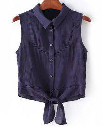 Casual Shirt Collar Button Fly Solid Color Tank Top For Women -