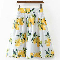 Casual High Waist Lemon Print Skirt For Women -
