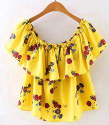 Casual Off The Shoulder Flounce Print T-Shirt For Women -