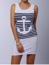 Casual Scoop Collar Sleeveless Striped Anchor Pattern Women's Dress - WHITE