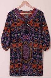 Fashionable V-Neck Full Print 3/4 Sleeve Dress For Women - COLORMIX