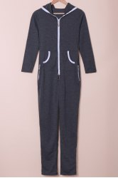 Stylish Hooded Zippered Long Sleeve Bodycon Jumpsuit For Women -