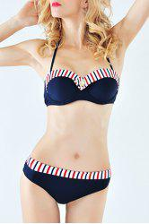 Stylish Halter Splice Stripe Print Women's Bikini Suit - PURPLISH BLUE S